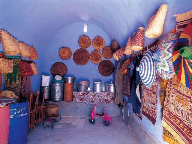 Intérieur d'une maison nubienne dans le sud de l'Egypte.