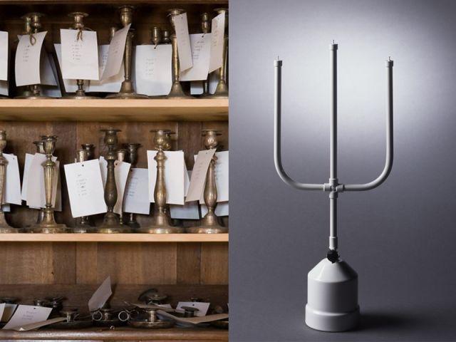 Dans la réserve des bronzes, une armoire de flambeaux (détail) et lampe Flammes, création de Chris Kabel, 2003.