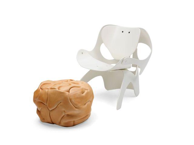 fauteuil crâne et pouf cerveau