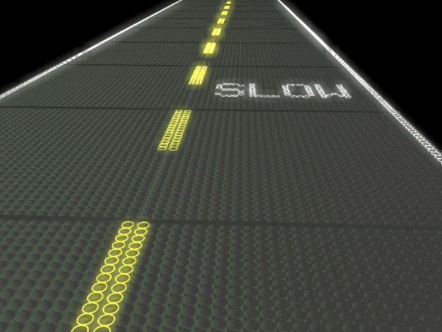 route solaire à leds