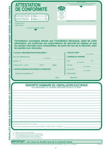 Formulaire Cerfa - Attestation de conformité de l'installation électrique