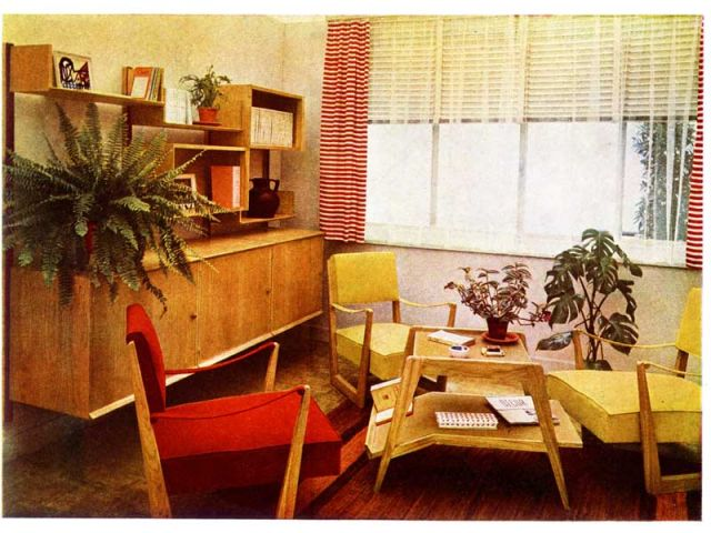 Salle de séjour, par Marcel Gascoin pour la reconstruction de Sotteville, présentée à l'Exposition de l'Urbanisme et de l'Habitation In Le Décor d'aujourd'hui, n°41, 1947, Couverture.