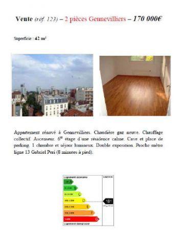 Exemple d'annonce immobilière en vitrine d'une agence immobilière à compter du 1er janvier 2011.