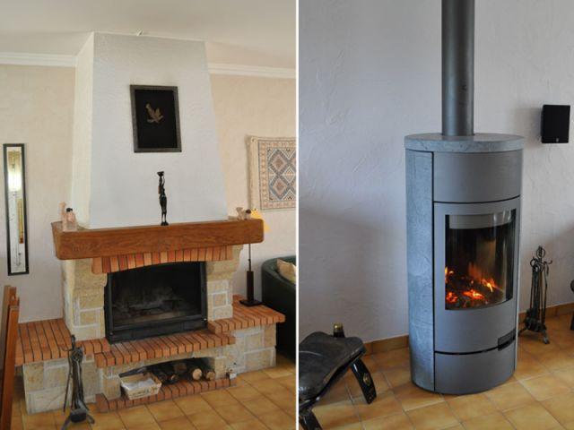 de la chemin e rustique au po le bois design. Black Bedroom Furniture Sets. Home Design Ideas