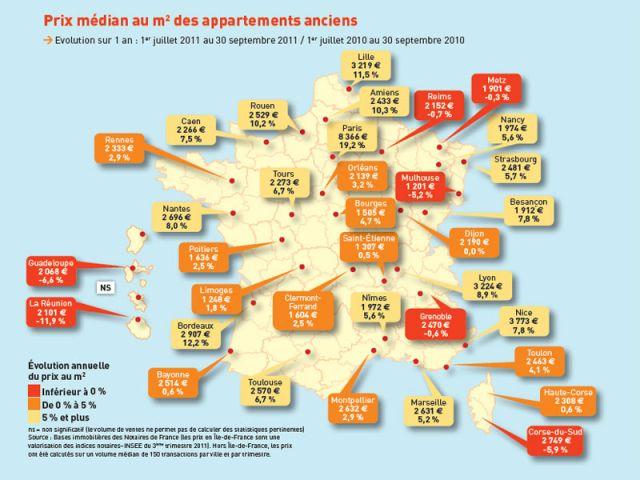 Prix médian au m2 des appartements anciens au 3T 2011- Cliquez sur l'image pour zoomer.