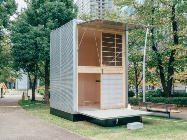 une mini cabane mobile sign e muji. Black Bedroom Furniture Sets. Home Design Ideas