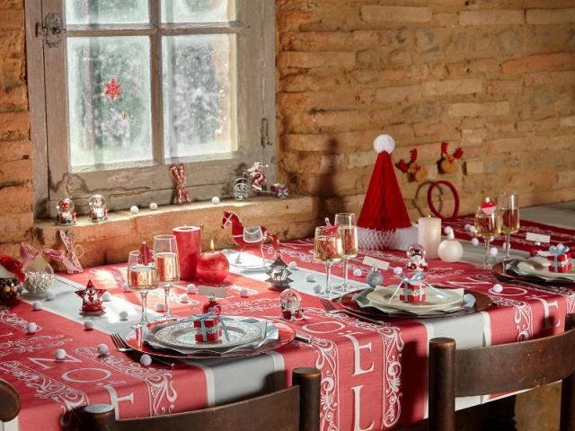 Decoration table noel montagne