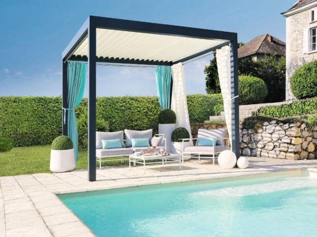 une pergola originale pour un jardin personnalis. Black Bedroom Furniture Sets. Home Design Ideas