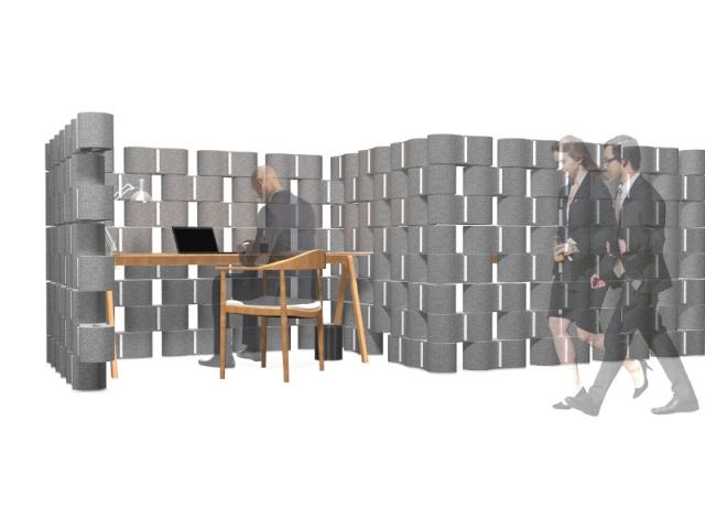 Un bureau enveloppé d'un mur en textile recyclé