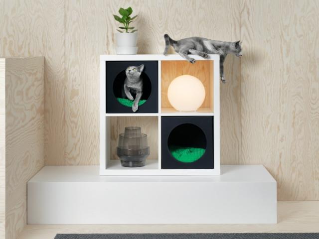 Lurvig Maison pour chat avec coussin, dans un meuble Kallax, 10,98 €