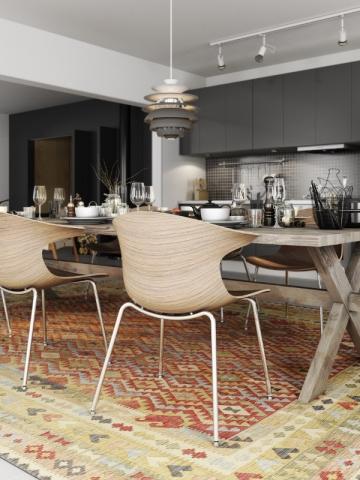 Un tapis effet vieilli pour une salle à manger