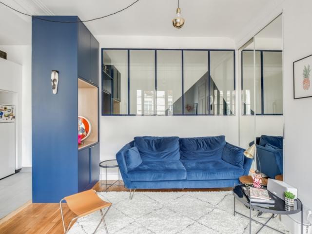 Le bleu se retrouve partout dans l'appartement