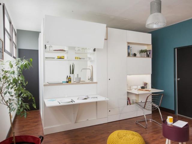 Coin bureau et espace cuisine en un meuble