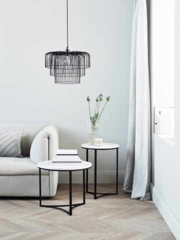 Bouts de canapé en métal noir et bois