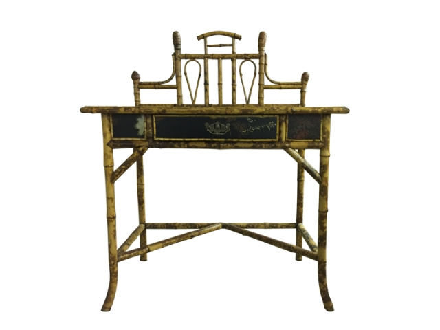 Bureau victorien en cuir et bambou