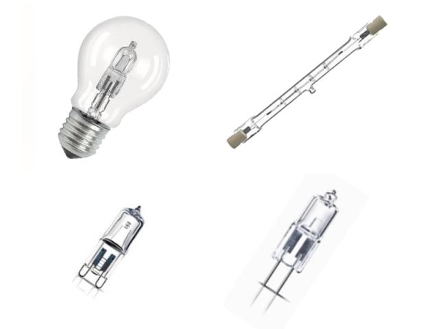 De gauche à droite et de haut en bas : halogène à tension de secteur interdit ; halogène à culot R7s ; halogène à culot G9 ; halogène basse tension non dirigée