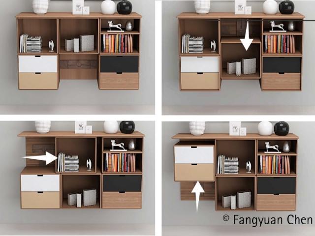 """Projet """"Moving Cabinets"""" : les étagères tournantes se déplacent du bas vers le haut"""