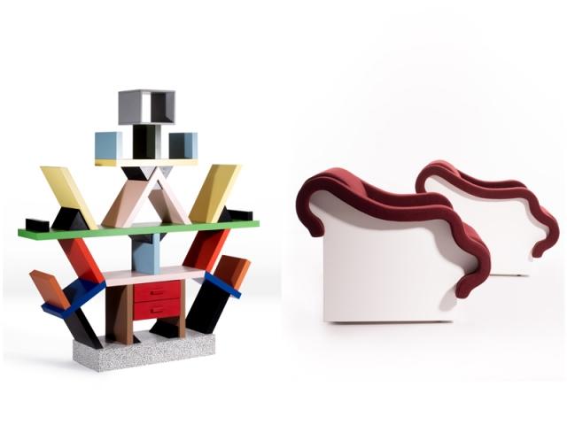"""La bibliothèque Carlton (1981) et une paire de fauteuils baptisée """"Poupouf"""" (1970)"""