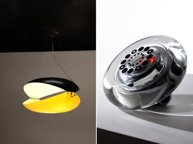La suspension Balena (1957) et une horloge de table (1965) signées Ettore Sottsass