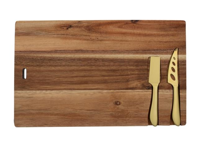 Plateau en acacia avec couteaux en acier inoxydable, Gourmet Cheese, 38€