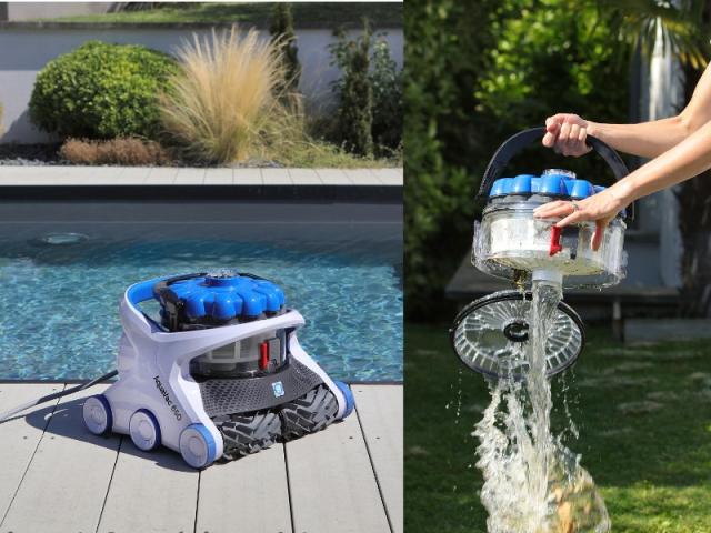 Le robot nettoyeur AquaVac 650 avec une puissance hydrocyclonique et un système de nettoyage qui ne salit pas les mains