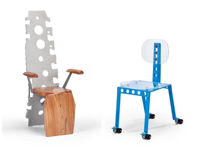 Le fauteuil Spine X, fabriqué à partir d'une nervure d'aile, et la chaise Nimbus, utilisant des hublots