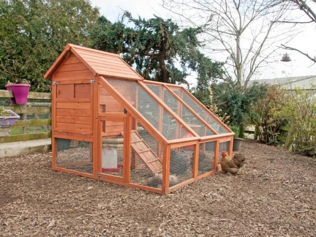 Un poulailler avec extension et cage de détente pour des poules heureuses