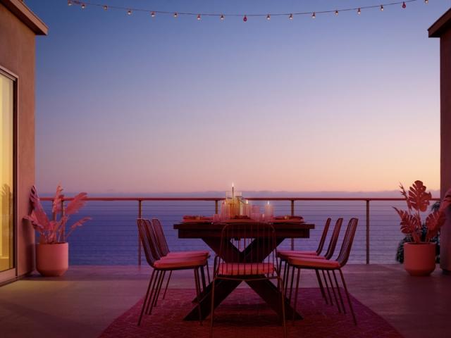 Dîner romantique et coucher de soleil dans la maison de Barbie
