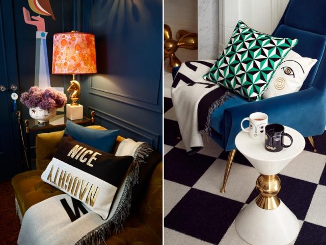 Jonathan ADLER X H&M Home : Coussin Nice/Naughty : 49,99 € ; jeté de lit : 149 € ; coussin visage : 39,99 €