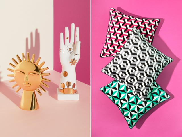 Jonathan ADLER X H&M Home : Sculpture soleil : 99 € ; main : 79,99 € ; coussins : 19,99 €