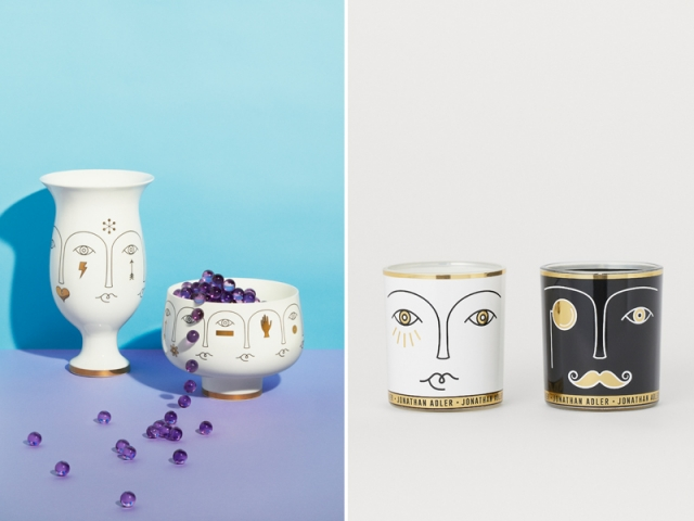 Jonathan ADLER X H&M Home : Vase : 99 € ; coupelle : 79,99 € ; bougies : 29,99 €