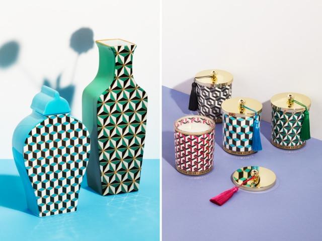 Jonathan ADLER X H&M Home : Vase bleu : 49,99 € ; vase vert : 59,99 € ; bougies : 29,99 €