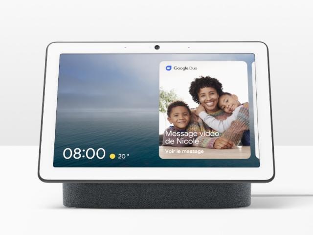 L'assistant vocal Google Nest Hub coloris charbon, avec son écran, 229 €