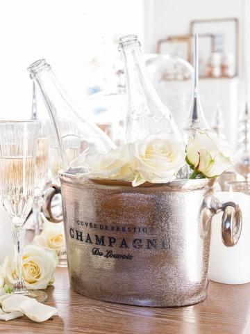 Le seau à champagne, comme un petit plus pour décorer la table de Noël