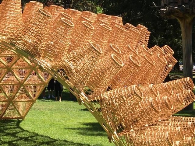 Une structure en bois, en forme de canopée, surmontée de 260 paniers en osiers